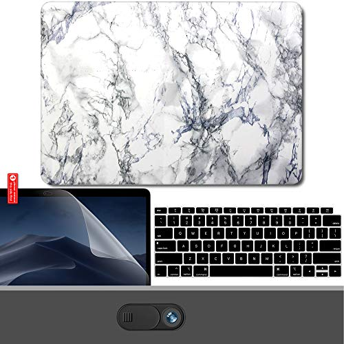 GMYLE MacBook Air 13 Inch Case 2018 Release A1932 with Touch ID Retina Display New Version Bundle, Plastic Hard Shell, Keyboard Cover, Webcam Cover Slide, Screen Protector Set, White Marble ()