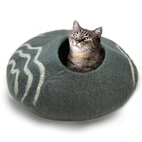 100% Natural Wool Large Cat Cave - Handmade Premium Shaped Felt - Makes Great Covered Cat House and Bed for Kitty. for Indoor Cozy Hideaway. Large Pod Soft Hooded Bed Area. (Dark Gray, Large)