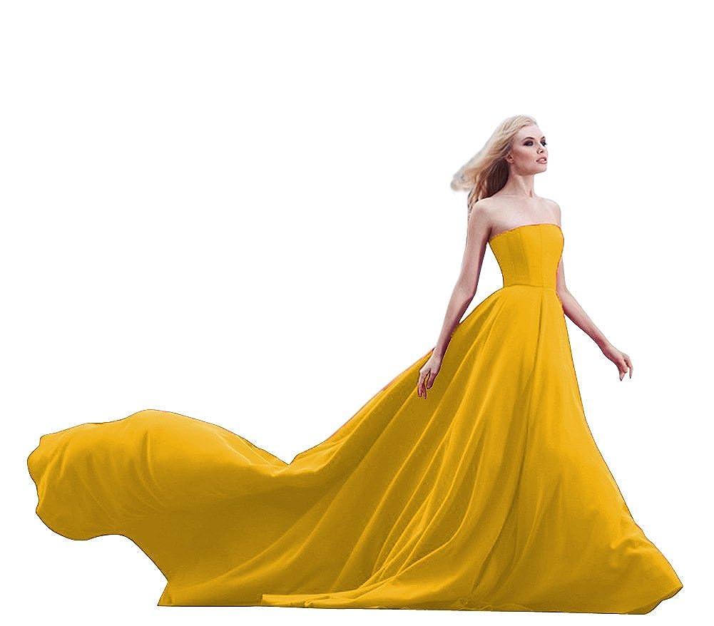 Yellow JoyVany Women Strapless Prom Dresses Wedding Dress Long 2018 Formal Gowns JV435