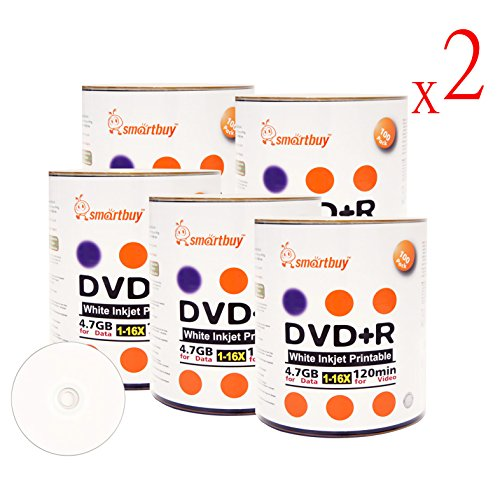 Smart Buy 1000 Pack DVD+R 4.7gb 16x White Printable Inkjet Blank Media Record Disc, 1000 Disc 1000pk by Smart Buy