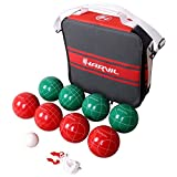 Harvil 100mm Bocce Ball Set. Includes 8 Poly-Resin Balls, 1 Pallino, 1 Nylon Zip-Up Carrying Case and Measuring Rope.