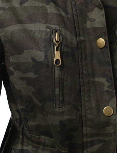 J.TOMSON Womens Trendy Military Cotton Drawstring Anorak Jacket ... 350a01b17