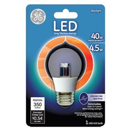 Price comparison product image GE Lighting 23724 LED 4.5-watt 350-Lumen Dimmable A15 Ceiling Fan Bulb with Medium Base,  Daylight,  1-Pack