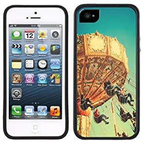 Carnival Swing Ride Vintage Handmade iPhone 5 Black Bumper Plastic Case