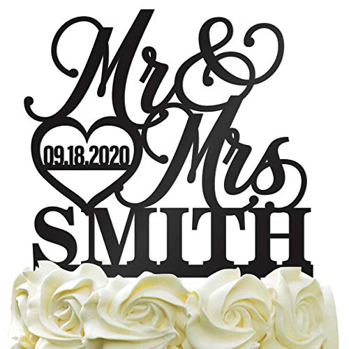 Personalized Wedding Cake Topper - Wedding Cake Decoration Elegant Customized Mr-Mrs, Last Name & Date With HeartColor - Black Wedding Cake Toppers