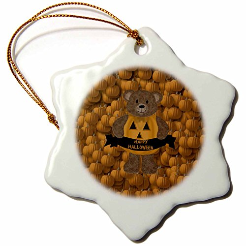 3dRose Bear, Happy Halloween, Pumpkin Background Snowflake Ornament