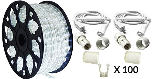 AQLighting Dimmable Cool White LED Rope Light Premium Kit, 120 Volts, 150ft/Roll, Commercial Grade Indoor/Outdoor Rope Light, IP65 Waterproof