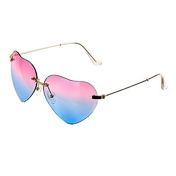 Mode Femme en forme de cœur en métal de style Cadre Lunettes de soleil Eyewear, Bleu et Jaune
