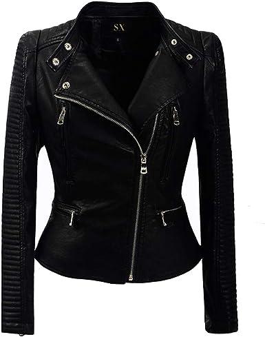 FRPE Women PU Faux Leather Oblique Zipper Motorcycle Biker Lapel Slim Fit Jacket