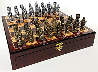 Medieval Times King Arthur Sir Lancelot Camelot Knights Dragon Chess Set High Gloss Cherry & Burlwood Color Storage Board 17""