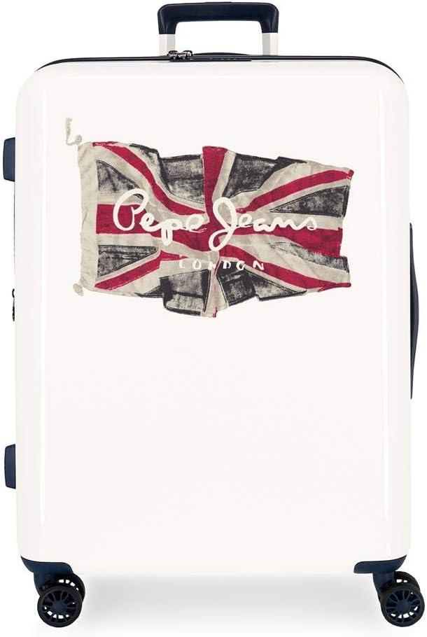 Maleta Mediana Pepe Jeans Flag rígida 70 cm Blanco