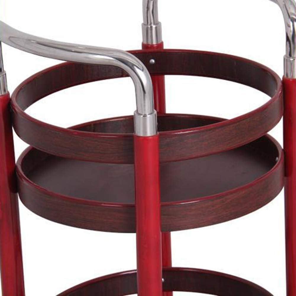 Capacit/é De Charge 15 Kg Chariot De Service Desserte Restaurant Cuisine Mobile Rouge 2 Niveaux Bois Massif Alliage Daluminium Roue en Caoutchouc avec Garde-Corps