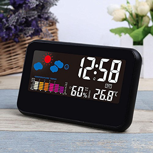Loskii DC-002 Digital Weather Station Thermometer Hygrometer Alarm Clock with Colorful LED Display Smart Sound Control Calendar Backlight Function -