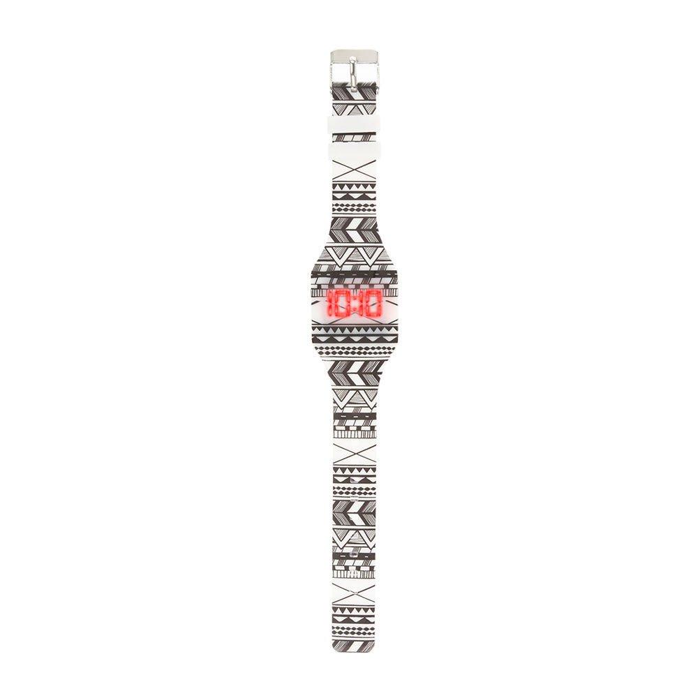Claire s Accessories Niñas Azul y Blanco Azteca impresión Digital Blink Reloj: Amazon.es: Relojes