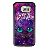Alice in Wonderland Samsung Galaxy S6 Case, Onelee [Never fade] Disney Alice in Wonderland We're all mad here Cheshire Cat Samsung Galaxy S6 Black TPU and PC Case [Scratch proof]