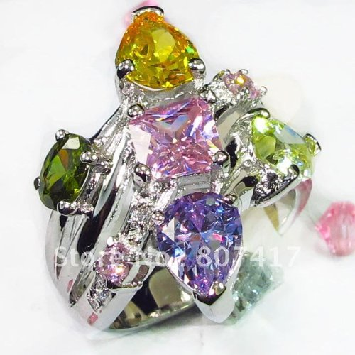 Trendy Peridot Yellow Morganite bule pink Cubic Zirconia fashion Silver Plated Time limited discount cute RING R553 sz#6 7 8