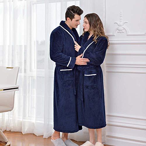 color m Engrosamiento De Khaki Larga Pijamas Baño Invierno Albornoz Gran Camisón Franela Bata Huifang S Blue Par Female Male Cálido Tamaño twU6q5cH
