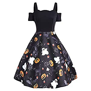 DressLily Cold Shoulder Vintage Halloween Dress Print A-line Women Short Sleeve Costume