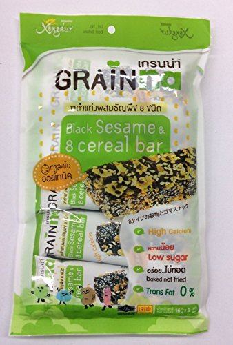 Organic Food Bar Organic Brown Rice (16g X 10 Pcs Xongdur Grainna Black Sesame & 8 Cereal Bar Thailand Diet Snack Vegan Food Halal By Thai Dd)