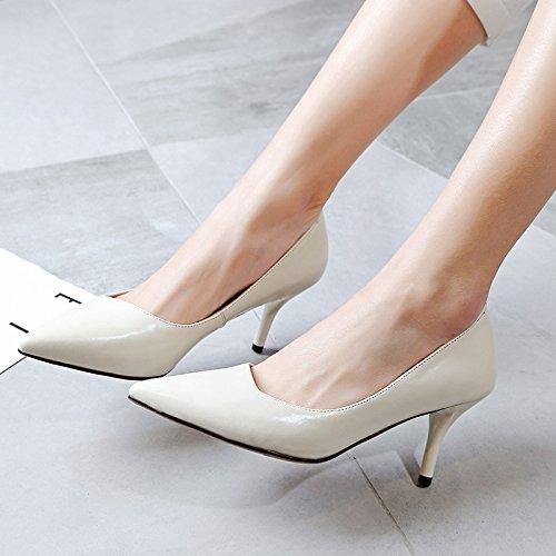 Pure punta white tendón meters zapatos Stiletto 36 white cuero final meters de de Shallow HFwqtZ6E