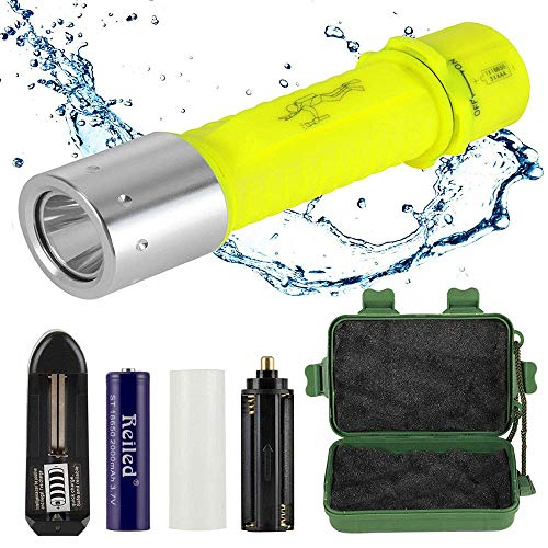Reiled Diving Flashlight, Bright LED Submarine Light Scuba Safety Lights Waterproof Underwater Torch or Scuba Diving Outdoor Under Water Sport
