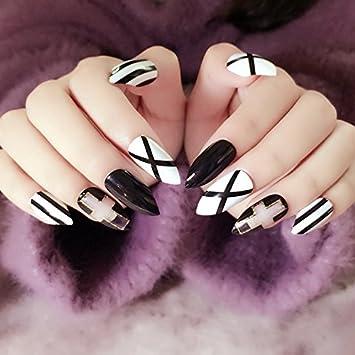 yunail - Juego de 12 tamaños Classcial Navidad decoración uñas postizas largo Sharp cabeza negro blanco Cruz Estilo acrílico con purpurina para niña amigo: ...