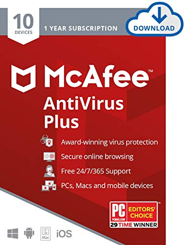 McAfee AntiVirus Plus, 10 Devices, Internet Security Software, 1 Year Subscription-[Download Code] - 2020 Ready (Best Price For Norton Internet Security 2019)