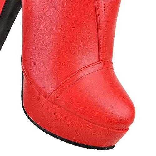 Tacón Sólido Material Rojo Caña Suave Puntera Botas AgooLar Mujeres Redonda Alto Baja qzwxtRF4X
