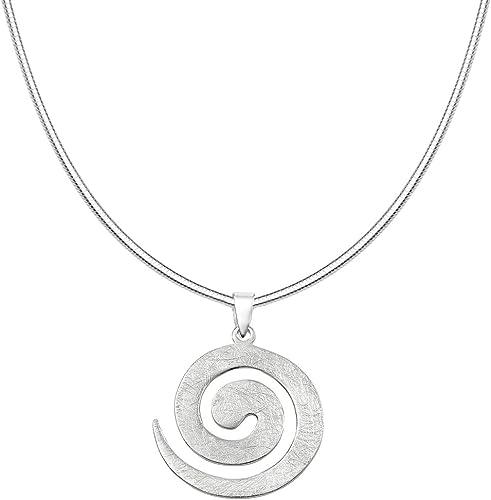 Vinani Anhänger Design Spirale groß gebürstet mit Schlangenkette Sterling Silber 925 Kette Italien 2ASP S00