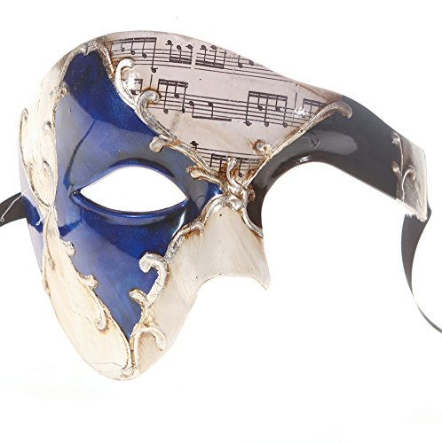 Luxury Mask Men's Phantom Of The Opera Half Face Masquerade Mask Vintage Design, Blue/Silver Musical, One (Men Masquerade Mask)