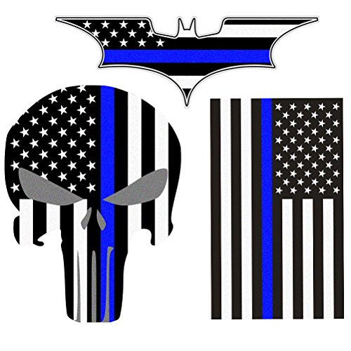 - Bundle Reflective Thin Blue line Stickers - Thin Blue Line US Flag, Punisher Skull, Dark Night Decals Stickers, American USA Flag Vinyl Stickers Honoring Police Law Enforcement