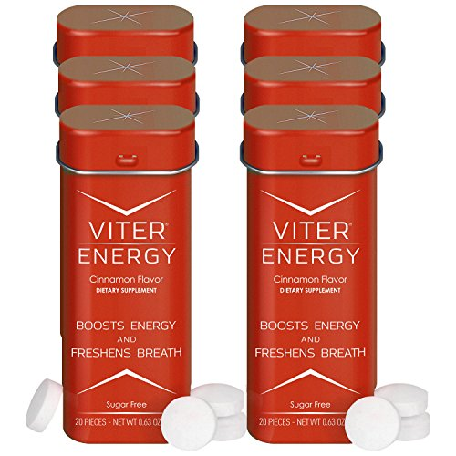 - Viter Energy Caffeinated Mints - 40mg Caffeine & B-Vitamins Per Powerful Sugar Free Mint. Boost Energy, Focus & Fresh Breath. 2 Pieces Replace 1 Coffee (Cinnamon, 6-Pack)