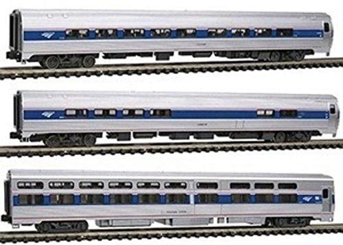 Amfleet Passenger Set - Kato USA Model Train Products Amfleet and Viewliner Intercity Express Phase VI Bookcase Set, 3-Unit Set