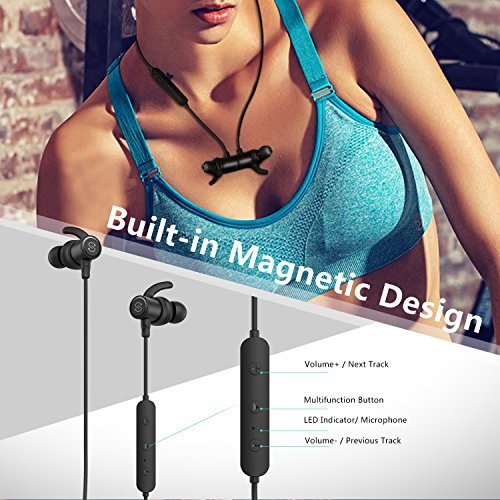Large Product Image of SoundPEATS Magnetic Wireless Earbuds Bluetooth Headphones Sport in-Ear Sweatproof Earphones with Mic (Super Sound Quality, IPX6, Bluetooth 4.1, aptx, 8 Hours Play Time, Secure Fit Design) (Black)