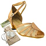 Women's Ballroom Dance Shoes Salsa Latin Practice Dance Shoes Brown Satin & Flesh Mesh 6018EB Comfortable - Very Fine 1.3'' Heel 6.5 M US [Bundle of 5]