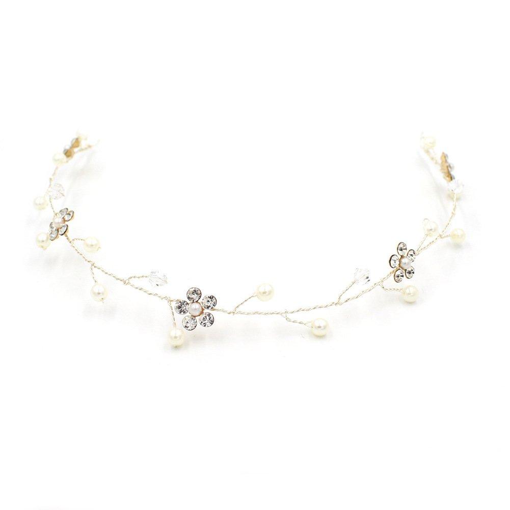 Dayiss Süß Braut Haarschmuck Blumen Diademe mit Kristall Perlen Hochzeit Vintage Silber und Gold WM2313611