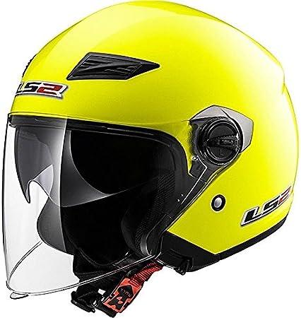 55-56cm LS2 OF569 Track Casco Jet DVS Cascos Abiertos de Moto Certificado ECE 22.05 HI-Vis Yellow Brillante S