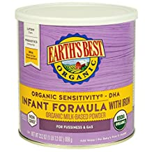 Earths Best Organic Sensitivity Infant Formula with Iron, 23.2 Ounce (Pack of 4)