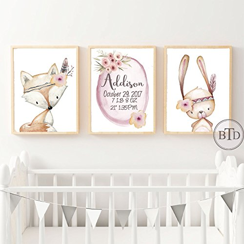 amazon com set of 3 boho baby birth stats woodland nursery wall art