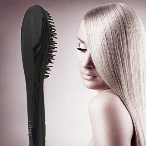 Sichun profesional plancha de pelo peine cepillo pantalla LCD cepillo eléctrico calefacción Alisar Irons Heating peine cepillo de pelo cabello cerámica rosa ...
