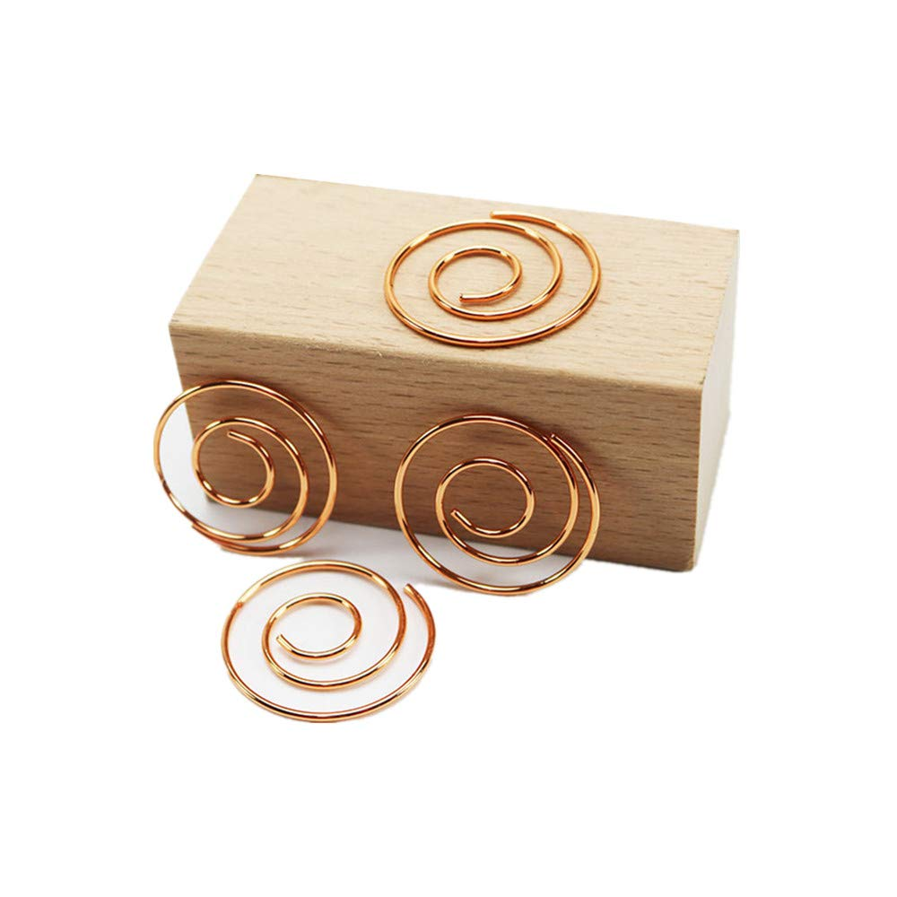 50pcs Rose Gold Spiral Paper Clips Dia 25mm Round Circular Paperclips with Acrylic Paper Clips Holder Clear for Office Supplies Desk Organizer