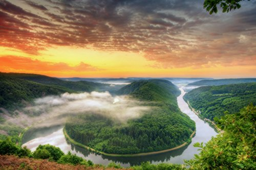 Beautiful River Mountains Landscape Sunset Poster 24x36
