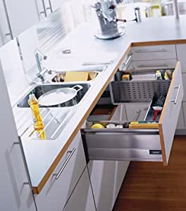 """Blum Tandembox Sink Drawer With Blumotion 500mm (19 11/16"""") 125# Class Full Extension Kit Gray"""