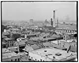Vintography 40 x 30 Ready to Hang Canvas Wrap Mobile & The Harbor from Bienville Square Mobile Ala 1908 Detriot Publishing 95a