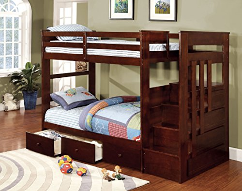 HOMES: Inside + Out ioHOMES Callas Transitional Bunk Bed and Drawers Set, Twin, Dark Walnut