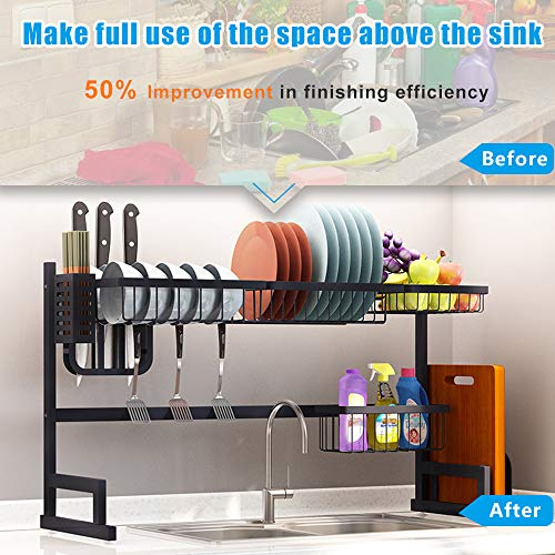 Fnboc Over The Sink Dish Drying Rack, Adjustable Dish Drainer Shelf Multifunctional Kitchen Storage Organizer With Utensils Holder (Sink size≤32.5in)