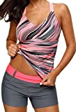 Aleumdr Womens Fashion Beach V Neck Printed Strappy Racerback Padded Tankini Swim Top Swimsuit No Bottom Plus XL Size Multicoloured
