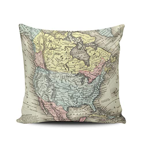 Fanaing Colorful Nineteenth Century Antique Map of North America Pillowcase Home Sofa Decorative 16x16 Inch Square Throw Pillow Case Decor Cushion Covers Double-Sided ()