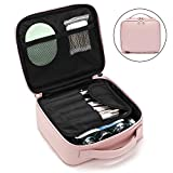 Makeup Bag NiceEbag Travel Cosmetic Bag for Women and Girls Leather Makeup Case with Removable Brush Holder Cute Cosmetic Case with Elastic Fixing Strap for Cosmetics Make Up Tools Toiletry,Rose Gold