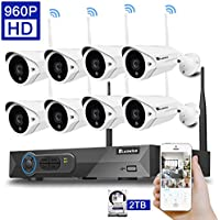 Luowice W9008CH-8C2 8CH 960p HD Wireless Security Camera System with 8x960p HD Wireless Indoor/Outdoor IP Cameras (Built-in Router 1.3MP Bullet Camera IP66, 82ft IR with 2 TB HDD)